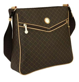 RIONI Brown Monogrammed Canvas Messenger Bag