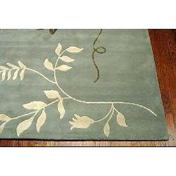 Handmade Soho Twigs Light Blue New Zealand Wool Rug (96 x 136