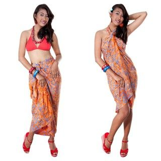 Orange Mixed Floral & Leaf Sarong (Indonesia)
