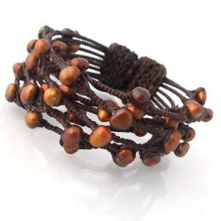 Contempo Criss Cross Rope Wrap Wire Copper Pearl Cuff (Thailand