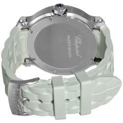 Chopard Womens Happy Sport Round White Rubber Strap Diamond Watch