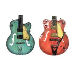 Strings Rock The World Metal Guitar Wall Art Decor (Set of 2