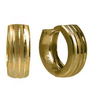 14k Yellow Gold Striped Mini Hoop Earrings