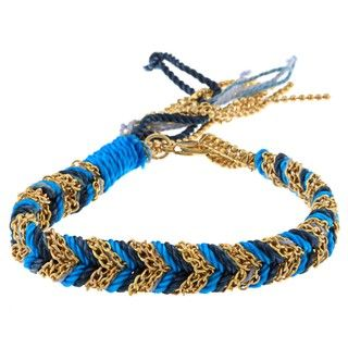 Helene Gold Overlay and Blue plated Braided Friendship Bracelet