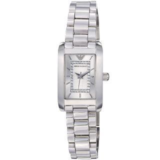 Emporio Armani Womens Classic Silver Diamond Dial Quartz Watch Was