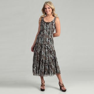 Jessica Howard Womens Brown/ Blue Abstract Jeweled Dress