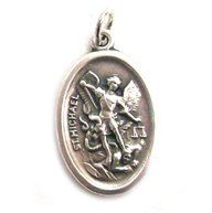 Saint Michael   Guardian Angel Two sided Oxidized Medal