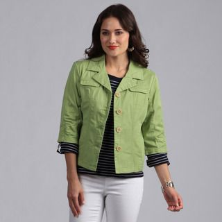 Live A Little Womens Green Button front Lightweight Jacket
