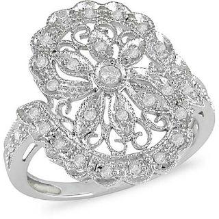 14k White Gold 1/4ct Diamond Flower Ring