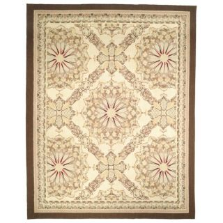 Hand knotted French Aubusson Ivory Wool Rug (4 x 6)