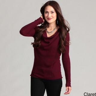 Cullen Womens Cashmere Long sleeve Drape Neck Sweater