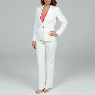 Anne Klein Womens Blanc White One button Pant Suit