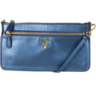 Prada Saffino Metallic Blue Mini Messenger Bag