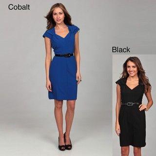 Emma & Michele Womens Ruche Belted Dress