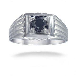 Sterling Silver 3/4ct TDW Mens Black Diamond Ring
