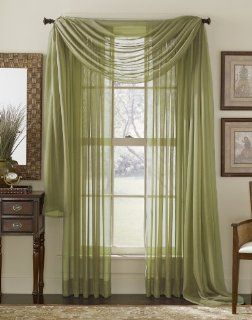 Sage Green 216 Sheer Window Scarf Home & Kitchen