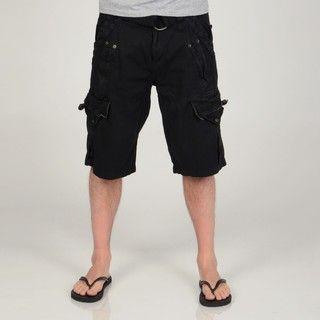 Seduka Jeans Mens Black Cotton Belted Cargo Shorts