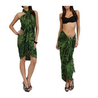 Embroidered Dark Green Tie dye Sarong (Indonesia)
