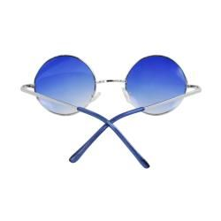 Retro Round Sunglasses Silver Blue Frame and Blue Gradient Lenses for