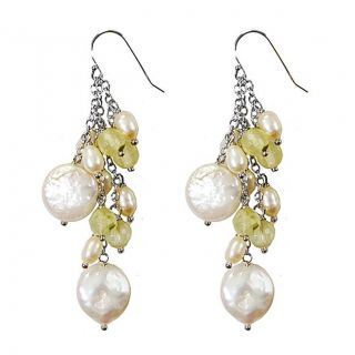 Adee Waiss Sterling Silver Freshwater Pearl and Prehnite Earrings