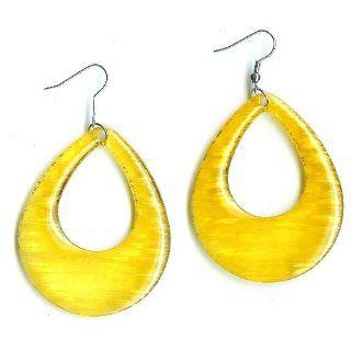 Beautiful Yellow Earrings   2& 1/4 Inches Long