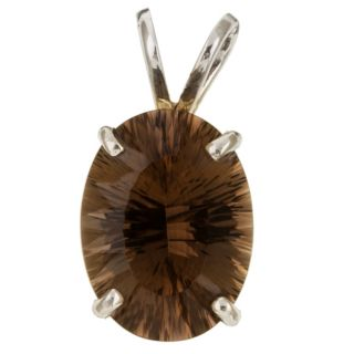 14k White Gold Quantum cut Smokey Quartz Pendant