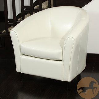 Napoli Ivory Bonded Leather Club Chair