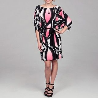 Sandra Darren Womens ITY Black and Coral Dress