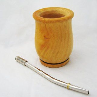 ARGENTINA MATE GOURD WOOD YERBA TEA STRAW BOMBILLA CUP