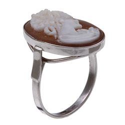 14k White Gold Hand carved Shell Cameo Profile Ring