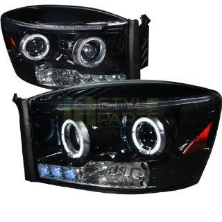 2006 2008 Dodge Ram Halo Projector Headlight Gloss Black Housing Smoke