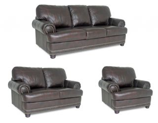 Spencer Leather Sofa/ Loveseat & Chair Set