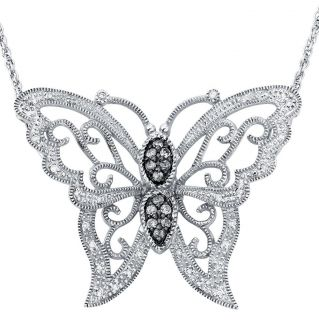 Sterling Silver 1/4ct TDW Diamond Butterfly Milligrain Necklace (H I
