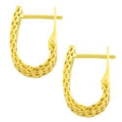 14k Yellow Gold U shaped Hoop Earrings