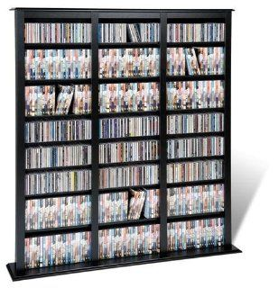 Prepac Black Triple Barrister Media (DVD,CD,Games) Storage