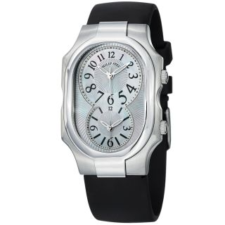 Philip Stein Womens Signature Mother Of Pearl Rubber Strap Watch