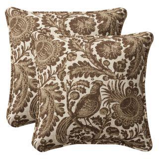 Pillow Perfect Outdoor Brown/ Beige Floral Toss Pillows (Set of 2