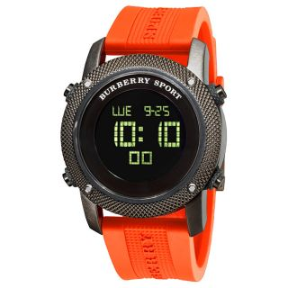 Burberry Mens Sport Digital Orange Rubber Strap Watch
