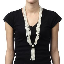 Kenneth Jay Lane Faux Pearl Seven strand Long Necklace