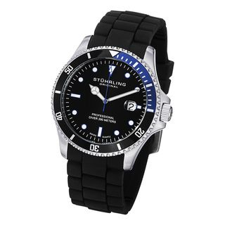 Stuhrling Original Mens Regatta Diver Sport Rubber Strap Watch