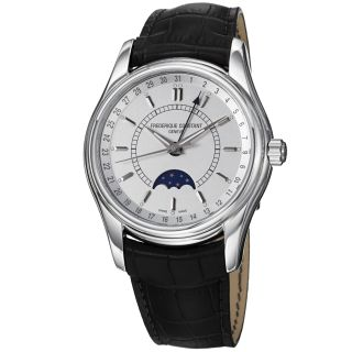 Frederique Constant Mens Index Silver Dial Moonphase Strap Watch