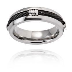 Mens Titanium Black Steel Cable Inset 6.7mm Ring