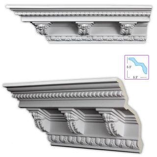 Baroque style 7.5 inch Crown Molding w/ Acanthus Medillions (8 pack
