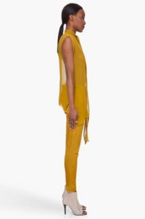Damir Doma Mustard Deep Neck Silk Blouse for women