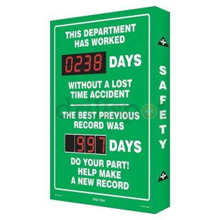 Accuform Signs SCA238 Safety Record Signs, 29 x 20In, AL, ENG