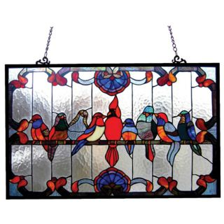 Gathering Birds Art Glass Window Panel