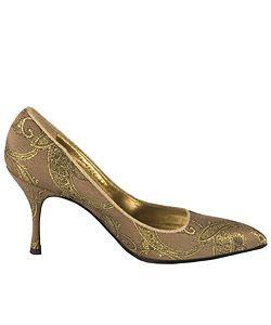 Dolce & Gabbana Gold Fabric Brocade Pumps