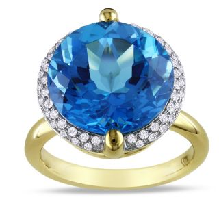 Miadora 14k Yellow Gold Blue Topaz and 1/4ct TDW Diamond Ring (G H