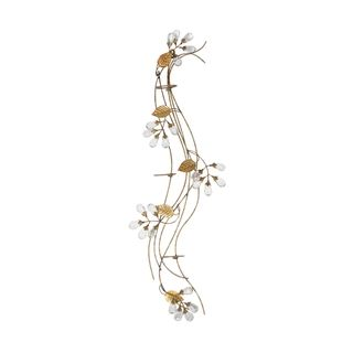 Elements 30 Inch Gold Gem Flower Three Light Sconce
