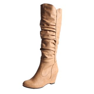 Blossom by Beston Womens Della 8 Knee High Wedge Boots